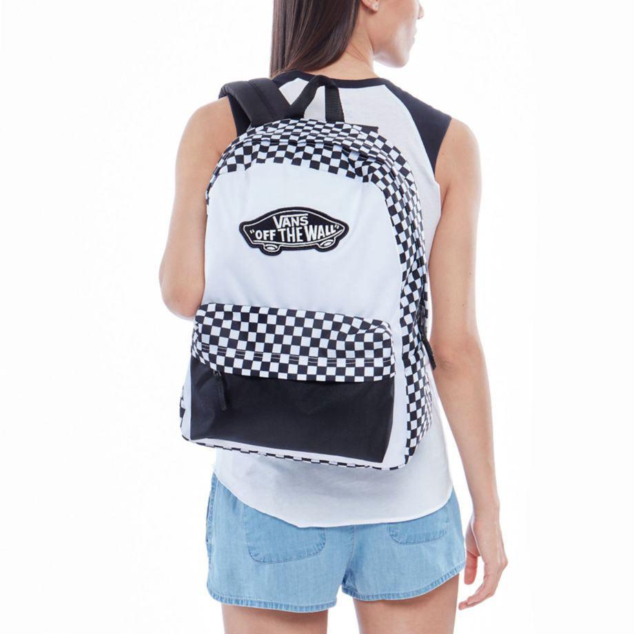 Vans Realm Backpack Black White Checkerboard táska